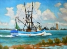 Beach scenes, shrimp boats, and coastal landscape and seascape oil paintings by Flint Reed